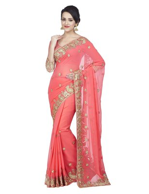 Baby pink embroidered faux georgette saree with blouse