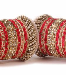 Traditional Red Silk Thread Bangle Set  For Two Hands
