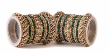 Traditional Green Silk Thread Bangle Set  For Two Hands