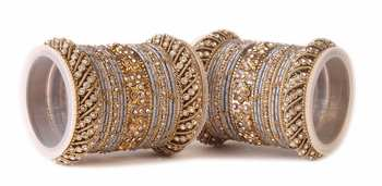 Traditional Grey Silk Thread Bangle Set  For Two Hands