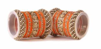 Traditional Orange Silk Thread Bangle Set  For Two Hands