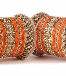 Buy Traditional orange silk thread bangle set  for two hands wedding-season-sale online