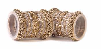 Traditional Silver Silk Thread Bangle Set  For Two Hands