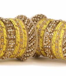 Traditional Yellow Silk Thread Bangle Set  For Two Hands