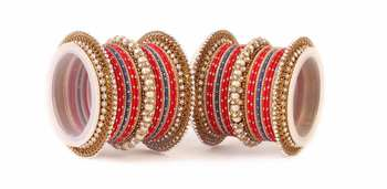 Traditional Red Blue Pearl Chakri Bangle Set