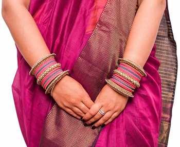Traditional Rani Blue Pearl Chakri Bangle Set