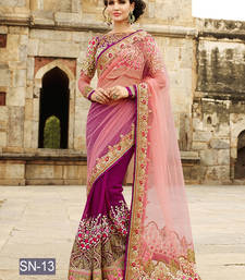 Buy Pink embroidered georgette saree with blouse women-ethnic-wear online