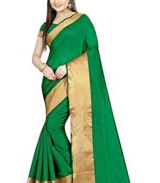 Buy green plain cotton poly saree with blouse cotton-saree online