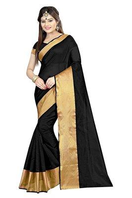 black plain cotton poly saree with blouse