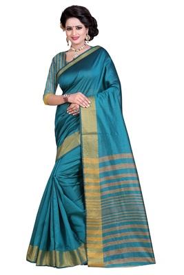 Light blue plain polycotton saree with blouse