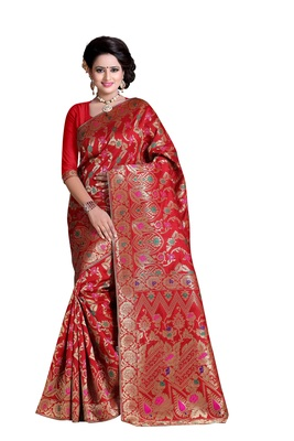 Red plain banarasi silk saree with blouse