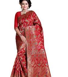 Buy Red plain banarasi silk saree with blouse banarasi-silk-saree online