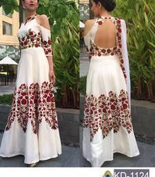 Buy White embroidered bangalore silk semi stitched salwar with dupatta bollywood-salwar-kameez-online online