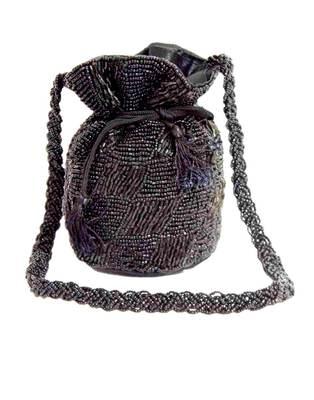 Black satin beaded potli bags