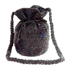 Black satin beaded potli bags