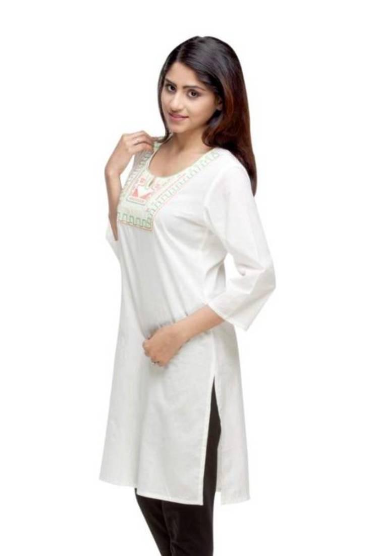 Avishi designer hand work white kurti