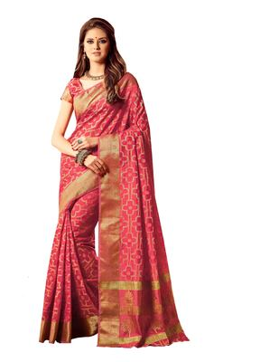 ab512102a7a0a0 Onion pink hand woven art silk sarees saree with blouse - SONAL ...