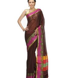 Buy Wine woven chanderi saree with blouse chanderi-saree online