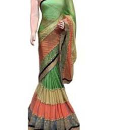 Buy Multicolor plain lycra saree with blouse below-400 online