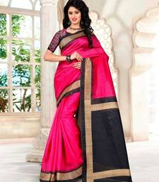 Buy Hot pink printed bhagalpuri silk saree with blouse bhagalpuri-silk-saree online
