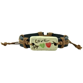A Special Kinda Love Tan Brown Thread-Woven on Black Strap Faux Leather Bracelet