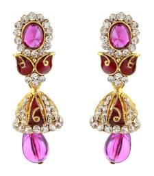 Buy Purple Meenakari Austrian Stone Gold Plated Dangler Earrings Woman online