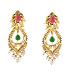 Buy Pink And Green Pota Stone Gold Plated Pearl Dangler Earrings Woman online