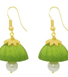 Buy Green Gold Plated Zinc Alloy Pearl Jhumki Dangler Earrings Woman online