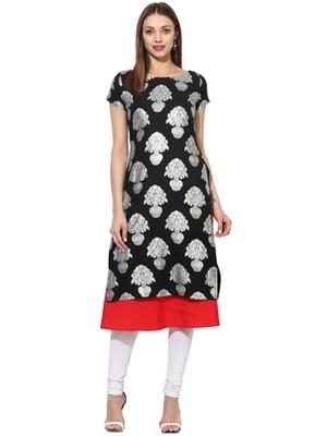 Black Crepe printed stitched kurti