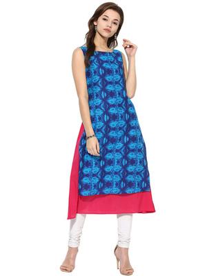 Blue Cotton Printed stitched kurti