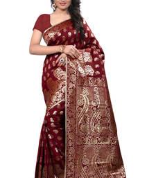Buy Maroon plain banarasi silk saree with blouse banarasi-silk-saree online
