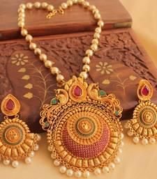 Buy Divine matte finish ruby emerald peacock necklace set - DJ08218 necklace-set online