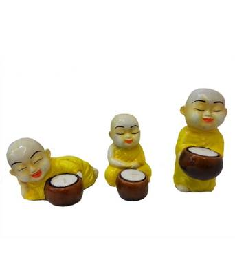 Yellow Monks Candle Stand Holder