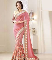 Buy Peach embroidered georgette saree with blouse heavy-work-saree online