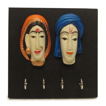 Diwali wall decoration Couple Faces Multicolor Key Holder