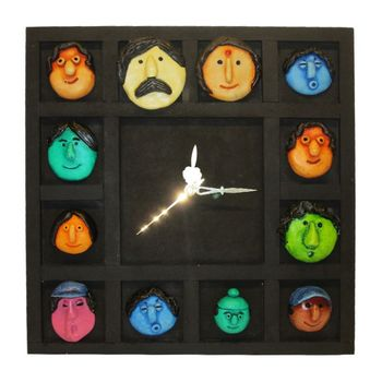 Family Mask Wall Clock Hanging