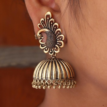 Peacock Inspired Oxidised Gold Plated Jhumka Earrings For Girls & Womens