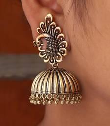 b0e449783 Peacock Inspired Oxidised Gold Plated Jhumka Earrings For Girls & Womens