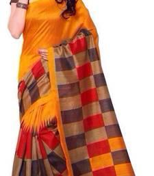 Buy orange printed bhagalpuri saree with blouse printed-saree online