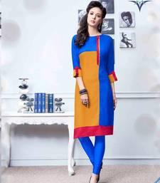 Buy Sky blue plain rayon party-wear-kurtis party-wear-kurti online