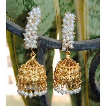 Pearly Stem Gold Jhumkas