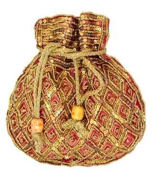 Maroon Satin Beaded Potli Bags