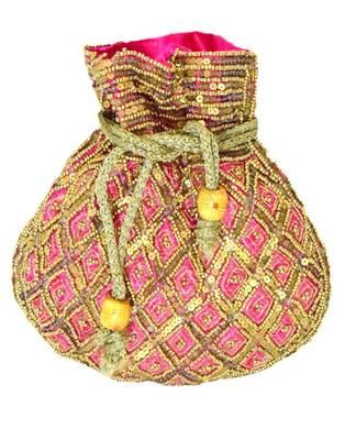 Beaded Drawstring Potli/Batwa- Pink