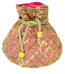 Beaded Drawstring Potli/Batwa- Pink