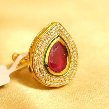 Ruby Kundan Meenakari Kundan Adjustable Ring