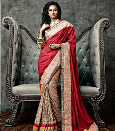 Buy Vishal Maroon Chikoo Cream Saree Iifanazakat33508 party-wear-saree online