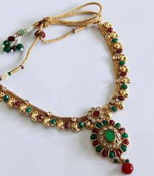 Buy Elegant Green Multi Color Oval Necklace Set necklace-set online