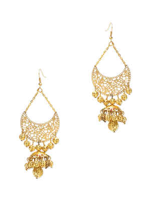Gold Filigree Chaand Earrings With Gold Beads
