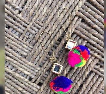 Kundan And Pom Pom Earrings