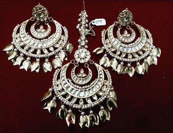 Gold kundan showstopper chandbali with tikka set